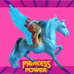 Arrow is a horse that serves as Bow's steed in the Princess of Power toyline and accompanying franchise. The Arrow figure is a blue pegasus with detachable wings. As some merchandise art shows Arrow without wings, it's unknown if the intention is that he's a pegasus, a normal horse (with the wings added for mere marketing value) or a horse who can transform into a pegasus like Swift Wind.