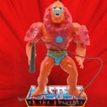 1982 Beast Man action figure from the He-Man and the Masters of the Universe toy line. The figure has a dark orange body with red removable chest and arm armor.