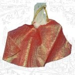 This is She-Ra's red cape from the 1985 vintage She-Ra Princess of Power toy line.