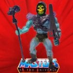Skeletor has a blue body and the same muscular build as most of the figures in the He-Man line. His head sculpt is an exposed skull and he wears a purple hood with purple armor.