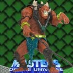 Beast Man action figure from the 2002 Masters of the Universe 200x Modern Series toy line. He features a lever on his back which raises Beast Man's arms.