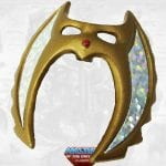 She-Ra's mask from the Masters of the Universe Classics toy line. Find other figures, weapons, vehicles, and accessories using the Weapons Rack.