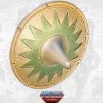 Vikor's shield from the Masters of the Universe Classics toy line. Find other figures, weapons, vehicles, and accessories using the Weapons Rack.