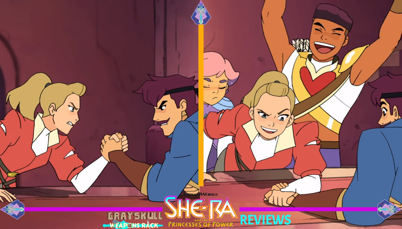 Adora wins an arm wrestling contest with Sea Hawk
