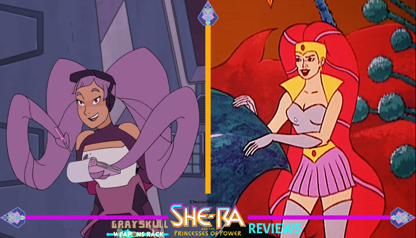 Entrapta as she appears in the Dreamworks Netflix series vs. 1980's Filmation cartoon