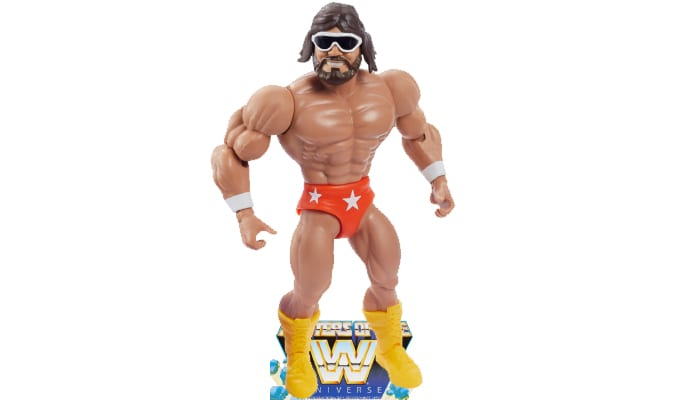 Macho Man from the WWE Masters of the Universe toy line. Find other figures, weapons, vehicles, and accessories using the Weapons Rack.