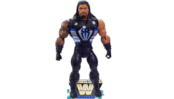 Roman Reigns from the WWE Masters of the Universe toy line. Find other figures, weapons, vehicles, and accessories using the Weapons Rack.