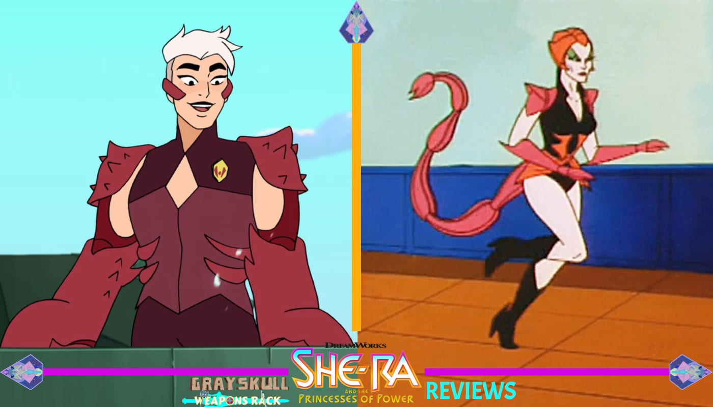 Scorpia as she appears in the Dreamworks Netflix series vs. 1980's Filmation cartoon