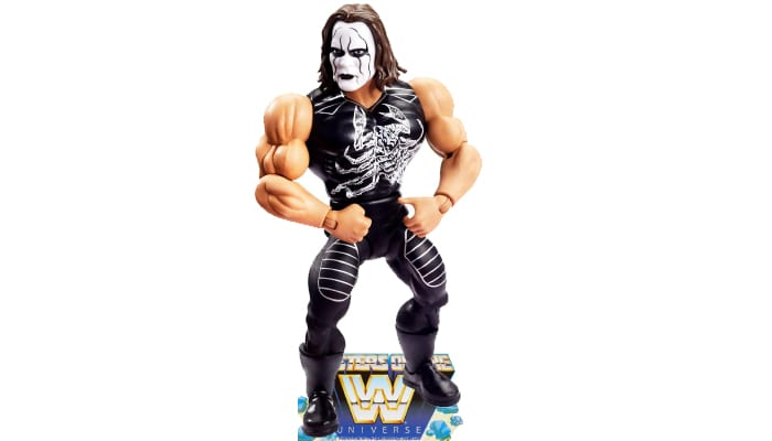 Sting from the WWE Masters of the Universe toy line. Find other figures, weapons, vehicles, and accessories using the Weapons Rack.