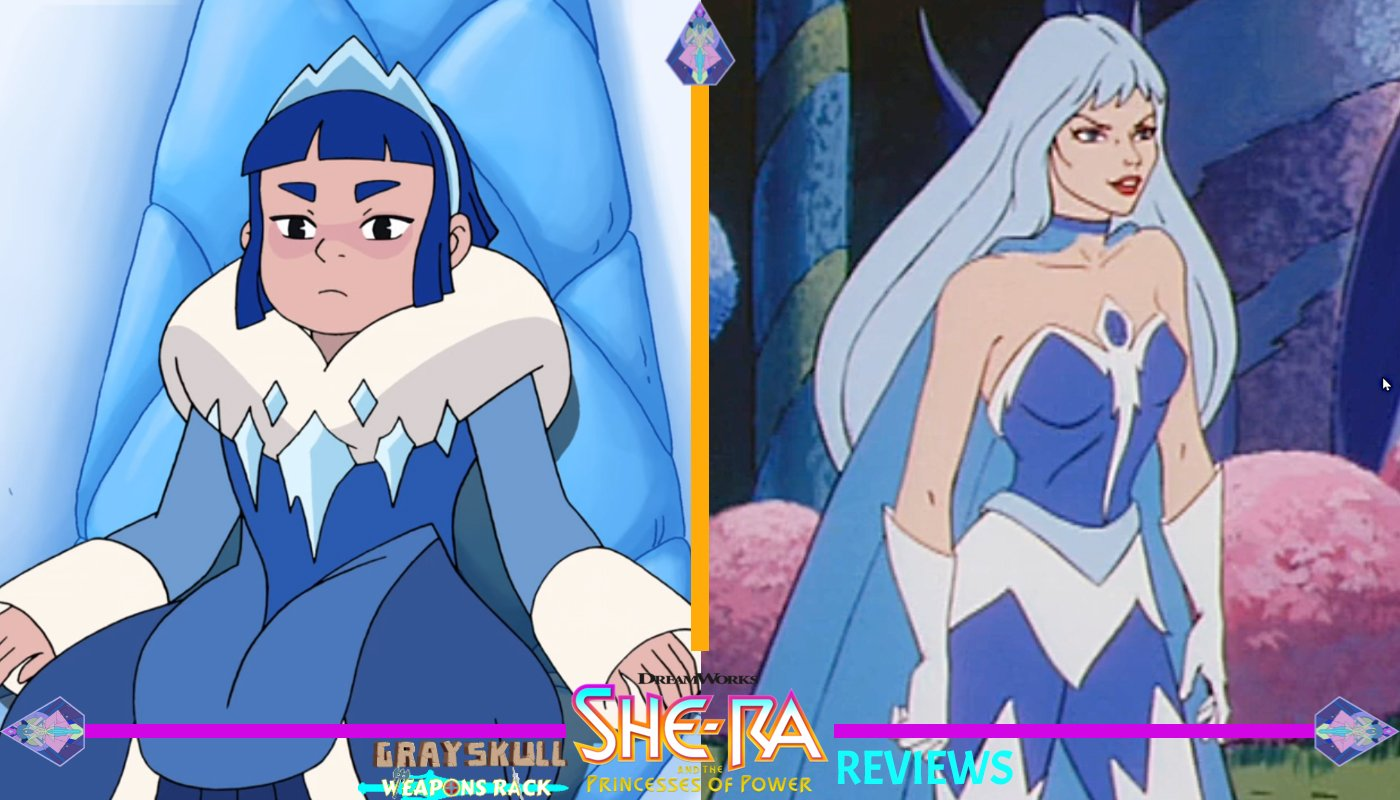Frosta as she appears in the Dreamworks Netflix series vs. 1980's Filmation cartoon