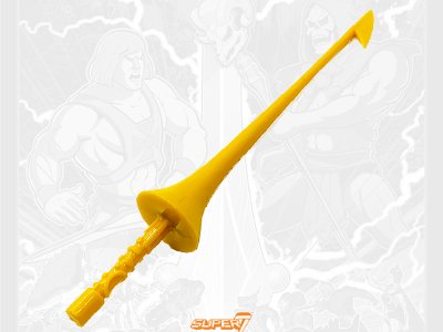 Buzz Off's Lance from the Vintage Super7 Masters of the Universe toy line. Find other figures, weapons, vehicles, and accessories using the Weapons Rack.