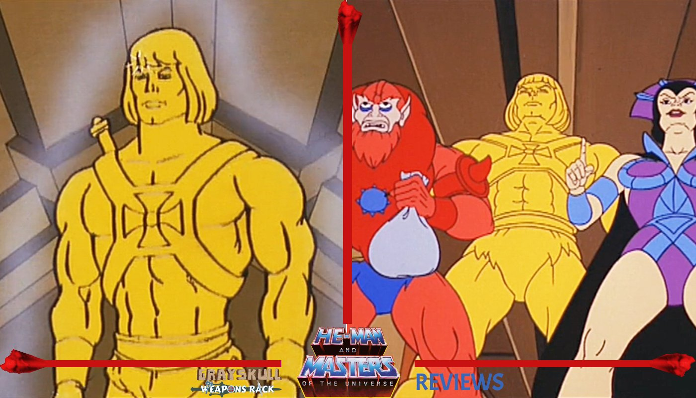 Golden statue he-man as he appeared in the shaping staff Masters of the Universe episode