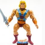 He-Man action figure from the Vintage Super7 Masters of the Universe toy line. Find other figures, weapons, vehicles, and accessories using the Weapons Rack.