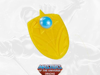 She-Ra's shield from the Masters of the Universe toy line. Find other figures, weapons, vehicles, and accessories using the Weapons Rack.
